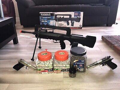 UPGRADED Airsoft Famas Pistol BB Bundle
