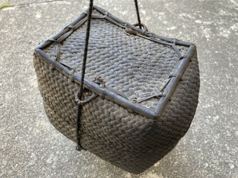 Antique Woven Covered Hanging Black Basket Made In Asia / China