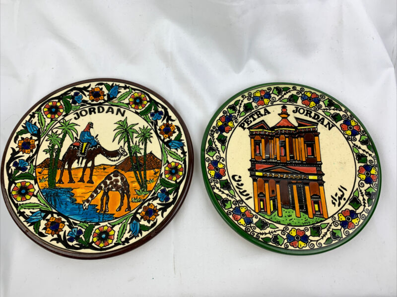"""Petra Jordan Ceramic Pottery plates hand painted Camels, Oasis, Palm Trees, 9"""""""