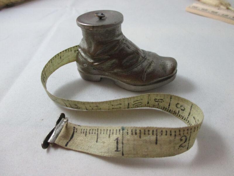 HIKING BOOT wind-up TAPE MEASURE ; ANTIQUE Original SHOE c1890