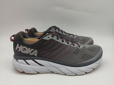 Hoka One One Clifton 6- Mens- Size 9.5- Grey Red- Running Walking Athletic Shoes