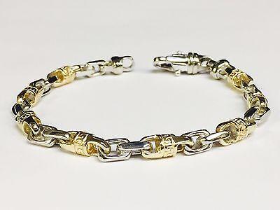 """14k Solid Gold Handmade Link Men's chain/Bracelet 8"""" 25 grams 6 MM"""