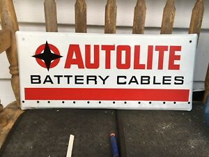VINTAGE OLD AUTOLITE BATTERY CABLES METAL SIGN
