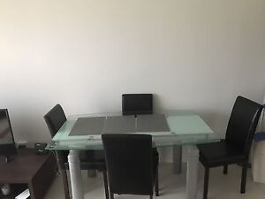 Extendable Glass Dining Table + 4 chairs Essendon Moonee Valley Preview