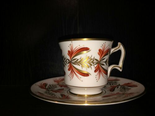 Vintage ROYAL CHELSEA Porcelain Tea Cup & Saucer Gold & Orange floral # 794A