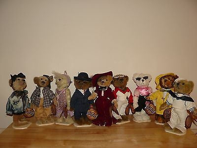Brass Button Collection Of 9 Collectible Bears Fully Jointed With Tags & Stands