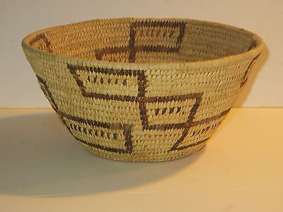 Vintage Or Antique Native American Indian Papago Basket With Designs