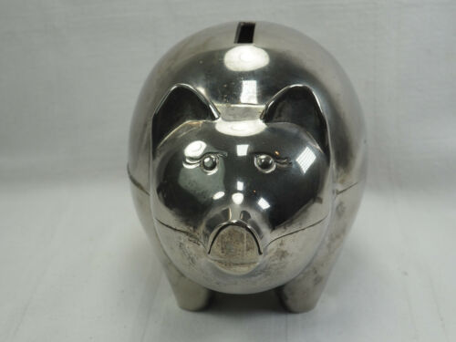 """Vintage Silver plated Chinese piggy money Bank  7 X 5"""" cute piggy lots of room"""