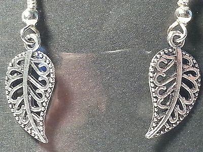 Silver Tone Leaf Leaves Drop Style Hook Earrings - Fashion Jewelry