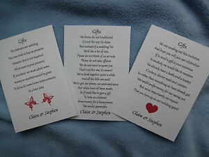 50 SMALL WEDDING POEM CARDS - MONEY CASH GIFT - CHOOSE 1 OF 3 DESIGNS