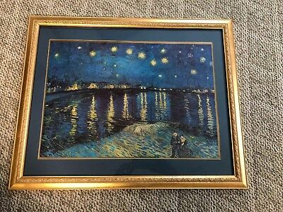 (Starry Night over the Rhone 1888 Vincent van Gogh Gold Framed Art Print 25 x 31)