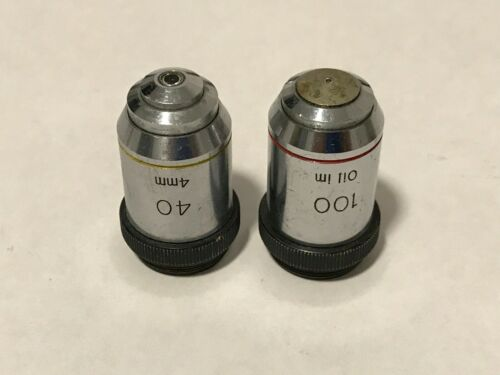 Two (2) microscope objectives, unknown manufacturers