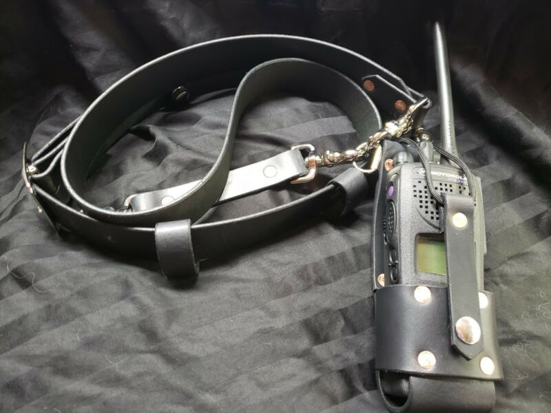 Black leather firefighter radio strap combo with Nickle Hardware