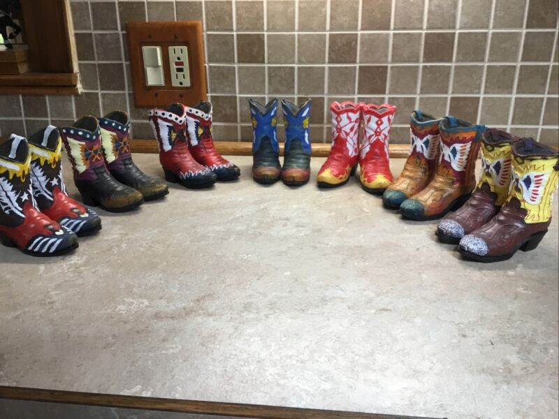 """7 Pair Southwestern Reflections Collection Miniature Cowboy Boot Figurines 4"""""""