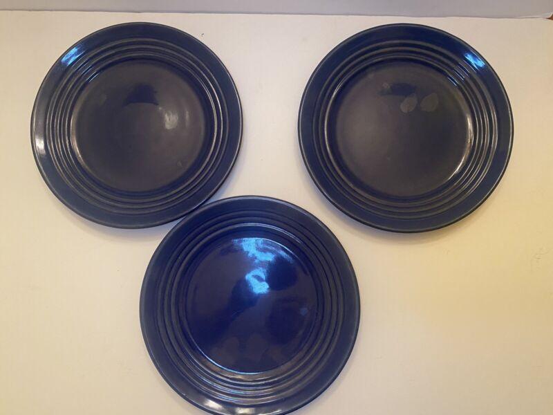 """Vintage Bauer Pottery 9.5"""" Plates Cobalt Blue"""