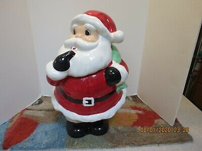 Vintage Ceramic Santa Claus Cookie Jar Christmas Holiday