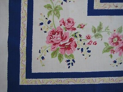 Vintage Pink ROSES Blue Border White Floral Cotton Tablecloth 48 x 49 FLAWS
