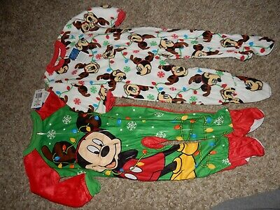 Set of 2 NWT 2T Disney MiCkEy MoUsE Holiday Lights Fleece blanket Sleepers Set