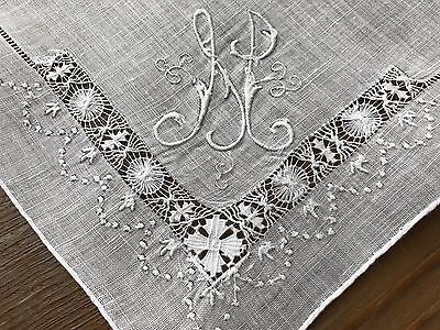 Vintage White Linen Hankie Madeira Style Hand Embroidered Monogram H Wedding