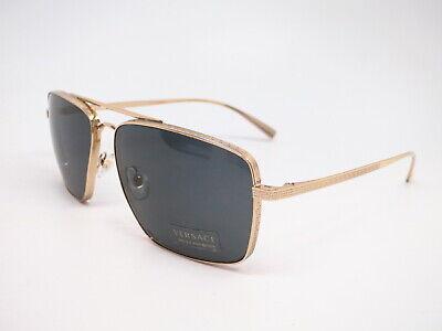 Authentic Versace VE 2216 1002/87 Gold w/Grey VE2216 Sunglasses