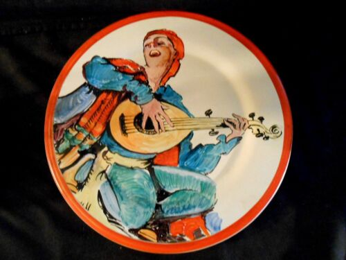"""Catalina Island Pottery Wall Plate 10 1/4"""" Mandolin Player/Singer Museum Quality"""