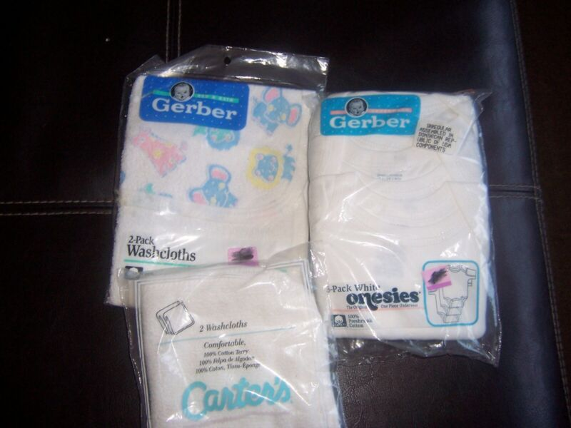 Carters Gerber washcloth white body suits lot New in package