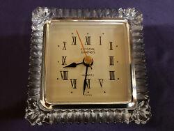 Vintage Rare Crystal Legends 24% Lead Crystal Clock Desk Mantle By Godinger