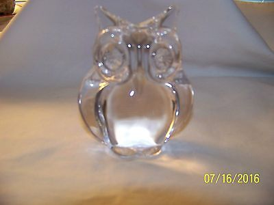 DAUM CLEAR CRYSTAL OWL FIGURINE FROM DAUM FRANCE PAPER WEIGHT