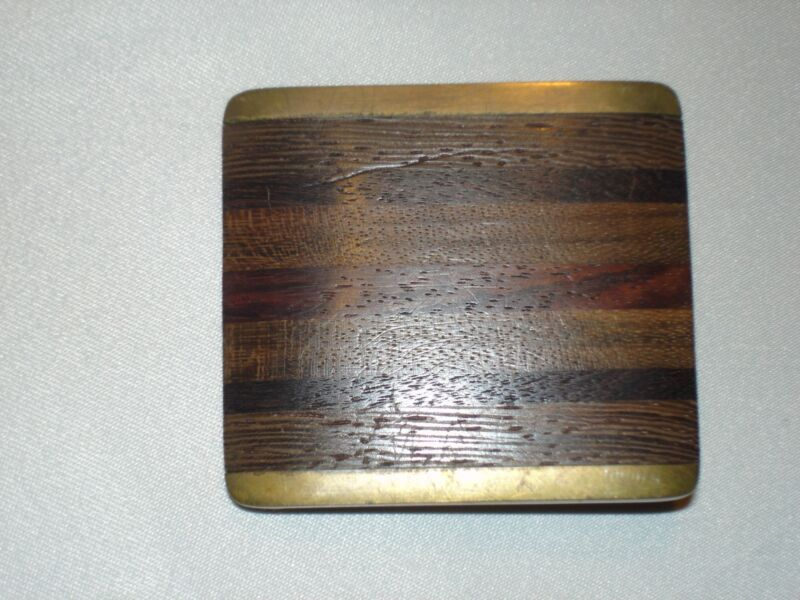 1970s Brass Multi Inlaid Woods B. Buckle Mark Oertel Leathers Indianapolis In.