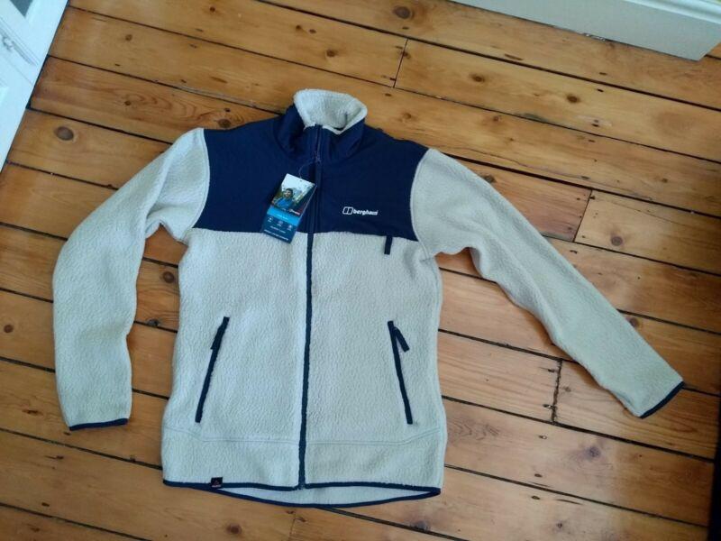 Berghaus Mens Syker Zip Fleece Medium Jacket Thick Pile Oatmeal Polartec New