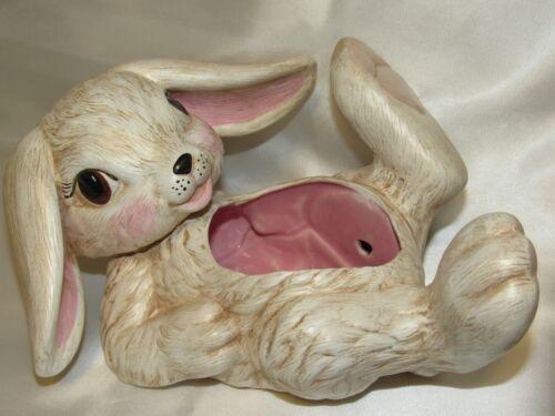 "Vintage Handmade Ceramic Easter Springtime Bunny Rabbit Planter 9"" Long"