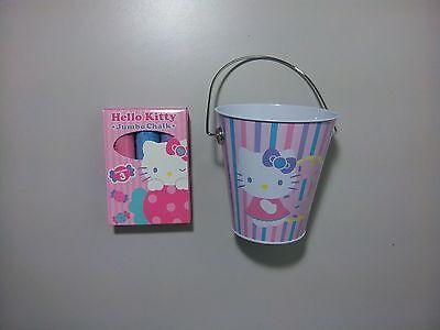 Hello Kitty Small Striped Tin Pail And Hello Kitty 3 Piece Jumbo Chalk Set (Hello Kitty Pail)
