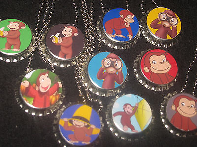Curious George Party Bags (curious george  lot of 20 bottlecap necklaces necklace loot bag party)