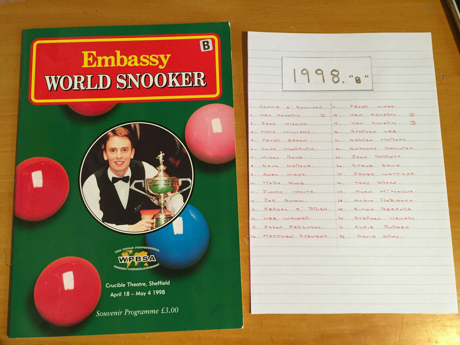 1998 Signed x 32 Embassy World Professional Snooker Championship Programme vgc