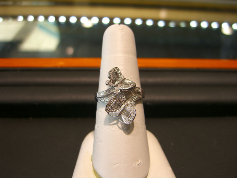 Fine Butterfly Womens 0.75 Carat Diamond Ring 18 Karat White Gold New Wow!!