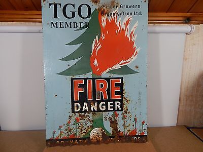 Vintage steel.Timber Growers Organisation Fire Danger sign woodland 55cm x38cm