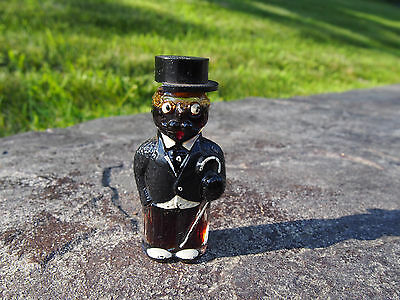 - Vintage Manhattan Peach Cordial Top Hat Dapper Man Figural Bottle Miami FL