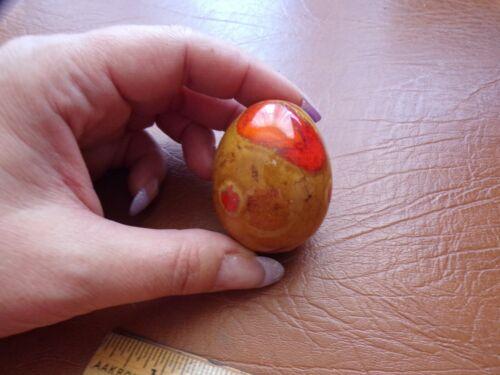 Vtg Decorative Egg Mustard & Orange Marble Painted