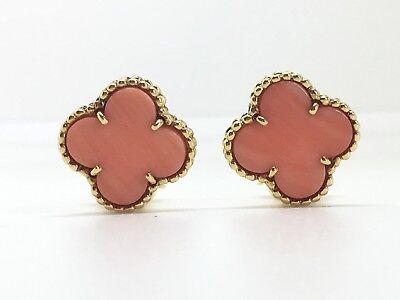 Van Cleef & Arpels 18K Yellow Gold Vintage Alhambra Coral Earrings