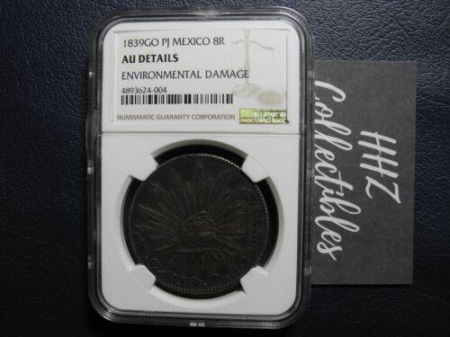 NGC Mexico 1839 8 Reales Guanajuato Go PJ Mint Silver Coin Scarce Date AU Detail