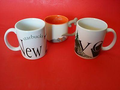 3 Exquisite STARBUCKS COFFEE MUGS MUG NEW ZEALAND TOKYO HAWAII  VOLCANO WAVES CUP