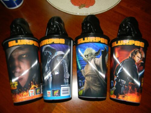 7-ELEVEN SLURPEE 3-D CUP / STAR WARS ROTS LID 2005 Darth DEW Lot Of 4 🥤