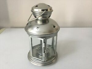 """Brushed silver star 8"""" candle holder lantern from ikea new"""
