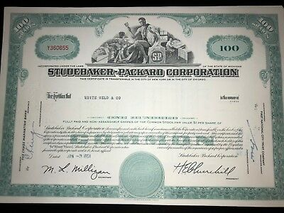 Studebaker Packard original issued stock certificate g8 auto collectible for sale  Tolland