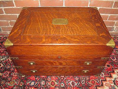 Antique American Oak Furniture - BRASS MOUNTED ANTIQUE VICTORIAN OAK SILVER CHEST / SILVER BOX  ~~ ABSOLUTE BEST!
