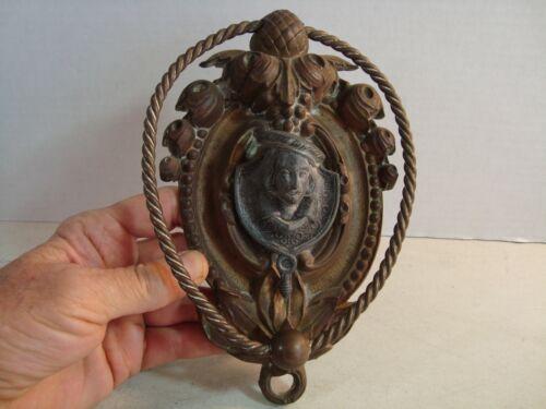 Antique Vtg Bronze Gentleman Head Sculpture Ornate DOOR KNOCKER 8 x 5 NICE*