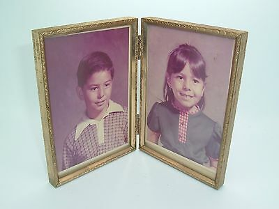 Vintage Folding Gold Tone Picture Frame With Children's Pictures