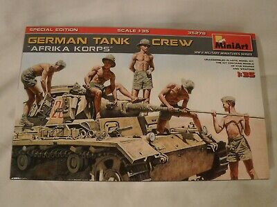 1/35 MiniArt German Tank Crew 5 Troops & Equipment  Afrika Korps DAK # 35278 OB