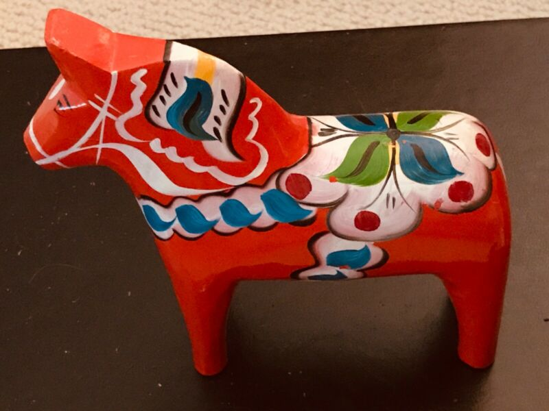 Large Multi Colored Swedish Dala Horse