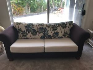 Freedom Sofa In Brown Suede And Custom Palm Tree Fabric Tropical